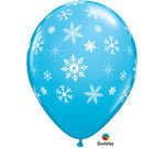 11 Winter Blue Snowflake Latex Balloon