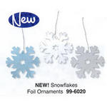 Foil Snowflake Ornaments/Decorations - Pkg 12