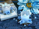 Elegant Frosted Blue Glass Flower Candle Holder