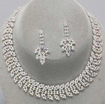 Rhinestone Leaf Choker Set - Colors!