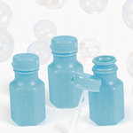 Plastic Mini Hexagon Light Blue Bubble Bottles - 48 Pkg