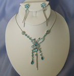 Rhinestone Butterfly Necklace Set - Colors!