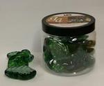Green Glass Luster Leaf Accents - Pkg 17