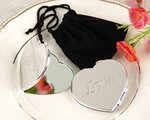 Love Heart-Shaped Compact Mirror in Black Velvet Pouch