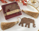 Lucky Elephant Metal Bookmark with Elegant Gold Silk Tassel