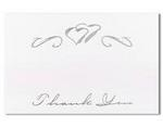 Swishy Silver Hearts Thank You Cards - Pkg 50