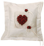Flower of Love Romantic Red Rose Ring Bearer Pillow