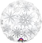 18 Clearly Metallic Snowflake Balloon