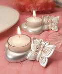 Enchanting Butterfly Design Candle Holders - Pink Stones