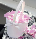 Sweet Bow Flower Girl Basket - White or Ivory