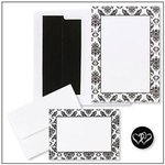 Black & White Damask Invitation Kit - Pkg 50