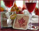 Fall in Love Maple Leaf Design Coasters - Pkg of 4