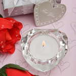 Glass Crystal Heart-Shaped Candle Holder