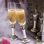 Distinctive Damask Porcelain Collection Champagne Flutes
