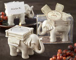 �Lucky Elephant� Antique Ivory-Finish Tea Light Holder