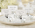 Lucky in Love Silver-Finish Lucky Elephant Place Card/Photo Holder (Set of 4)
