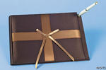 Brown Satin Guest Book & Pen Set