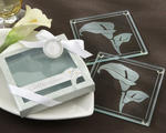 """Calla Lilies"" Frosted-Glass Coasters"