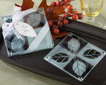 Autumn Sparkle Frosted-Leaf Glass Coasters (Set of 2)