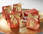 Double Happiness Asian-Themed Favor Box with Metallic-Gold Symbol and Bow - Pkg 24