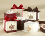 Autumn Elegance Laser Cut Maple Leaf Favor Boxes - Pkg 24