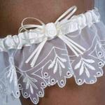 White Organza Garter with Embroidery
