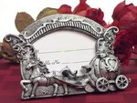 White & Glitter Coach & Horses Place Card Holder