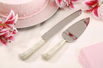 Floral Handle Cake Knife & Server Set