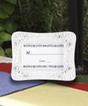 Place Card Holder - White with Rhinestones