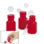 Mini Hexagon Red Bubble Bottles - Pkg 48