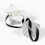 Black & White Damask Take Out Boxes - Pkg 12