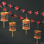 12 Foot Flower Garland with Chinese Lanterns