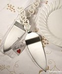 Pearl White Heart Design Cake Server Favor