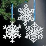 4 Resin Irridescent Snowflake Ornaments - Pkg 12