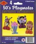 Set of 4 - 50's Playmates Art-Tissue Decorations