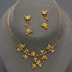 Yellow & Clear Butterfly Design Necklace Set