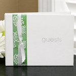 Lime Floral Ribbon Guest Book