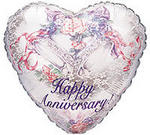 Happy Anniversary Bells & Lace Mylar Balloon