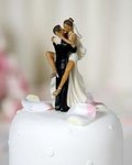 Funny Sexy African American Wedding Bride and Groom Cake Topper Figurine