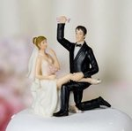 Garter Victory Wedding Bride and Groom Cake Topper Figurine