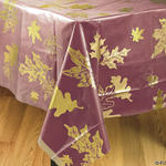 Clear Overlay Tablecover with Gold Leaves & Acorns