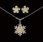 Bold Snowflake Rhinestone Necklace Set