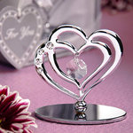 Interlocking Hearts and Rhinestone Sculpture