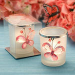 Crystal Butterfly Candle Votives - Pink