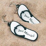Just Married Flip Flop Key Chain