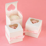 Heart Top Cutout Cupcake Favor Boxes