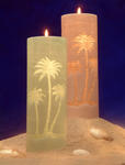 Palm Tree Pillar Candle - 2 Colors!
