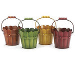 4 Autumn Hand Painted Wood Look Tin Pail - 4 Colors!