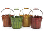 6 Autumn Hand Painted Wood Look Tin Pail - 4 Colors!