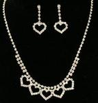 Line of Hearts Rhinestone Necklace Set